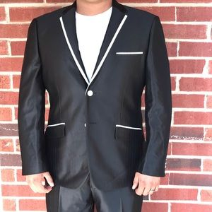 Other - Shiny Black Slim Fit Suit w White trim and buttons